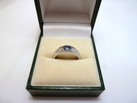 9ct white gold blue topaz and diamond set ring