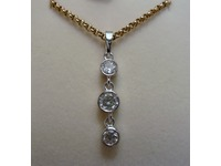 9ct yellow and white gold three stone diamond drop pendant using stones from customers' ring