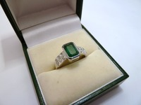 18ct white gold emerald and marquise cut diamond dress ring
