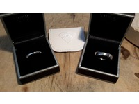 18ct white gold and palladium rings made by the happy couple on a course