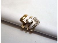18ct palladium set of three interlocking wedding, engagement and eternity rings set with diamonds