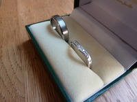 Gents brush finished wedding ring, ladies shaped and diamond set