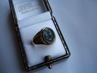 Seal engraved bloodstone gold signet ring