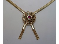 9ct yellow gold tassled necklet set with centre ruby, diamonds and emeralds on 9ct flat snake type chain