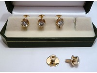 Set of 9ct yellow gold and cubic zirconia dress studs