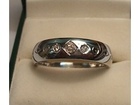 Diamond set Palladium gents wedding ring