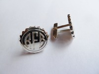 Sterling silver 'bottle top' cufflinks