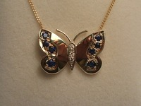 9ct yellow gold butterfly necklet set with sapphires and diamonds