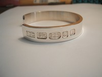 Heavy gents silver bangle with our large feature hallmarks