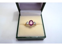 18ct ruby and diamond 3 stone ring