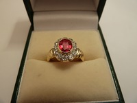 18ct gold and palladium red spinel and diamond cluster