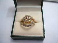 9ct yellow and white gold shaped wedding ring, diamond cut
