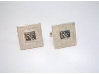Patterned square cufflinks with initials hand engraved in centre