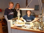 Rick Chapman at his bench, with Blesma supporter Barbara Ding, and the first visitor at 9.00a.m